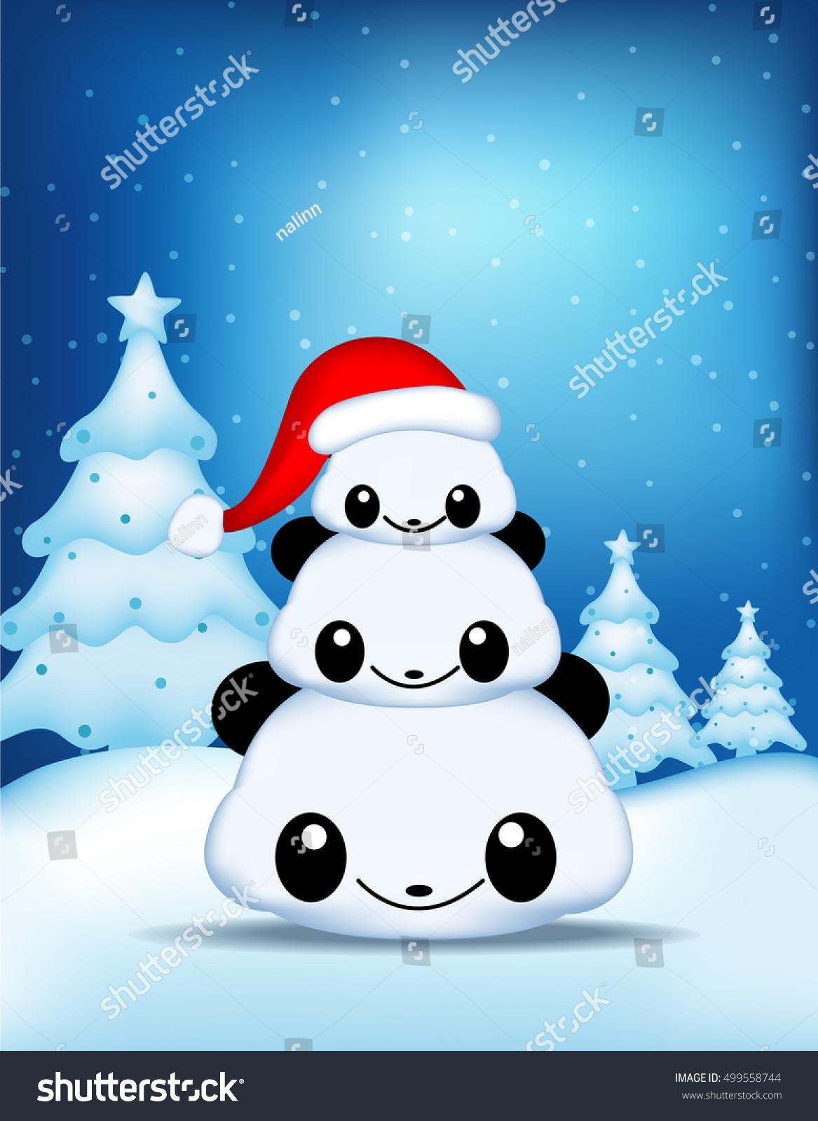 Three Cute Pandas Wishing Merry Christmas Stock Vector Royalty Free