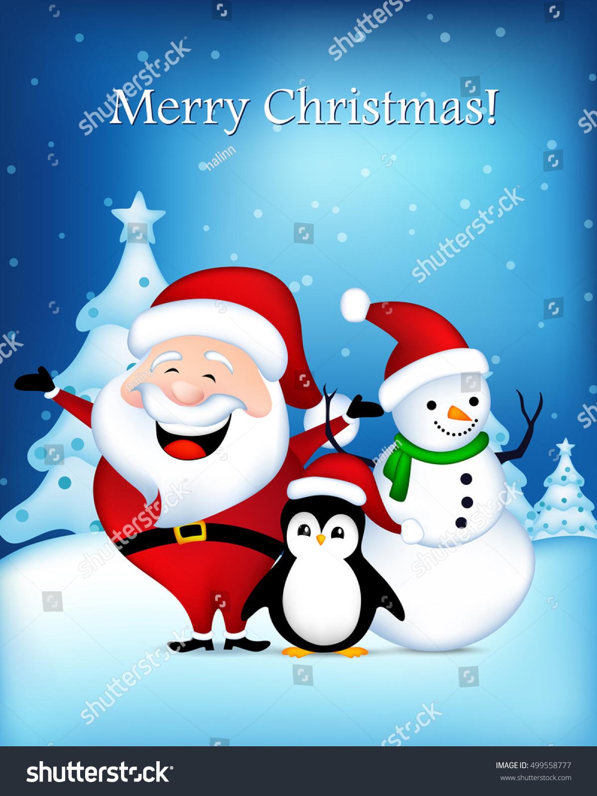 Cute Santa Claus Snowman Penguin Wishing Stock Vector Royalty Free