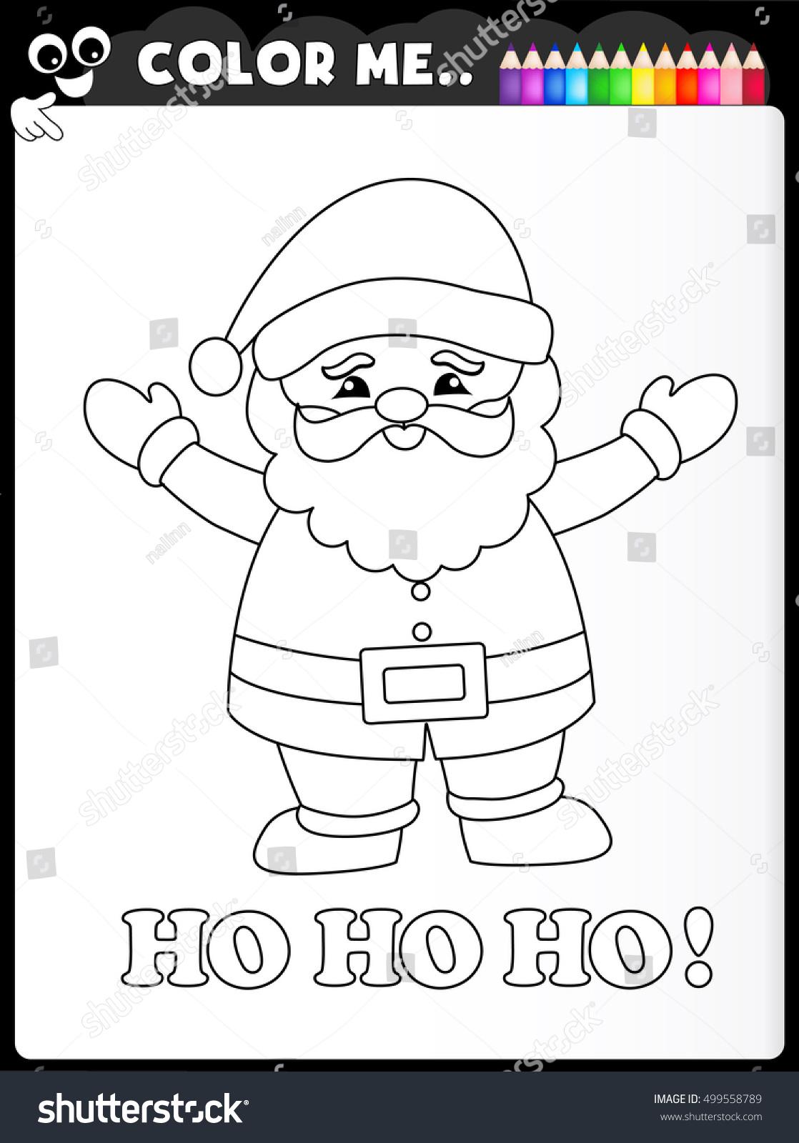 Coloring Worksheet Kids Santa Clause Stock Vector 499558789 ...