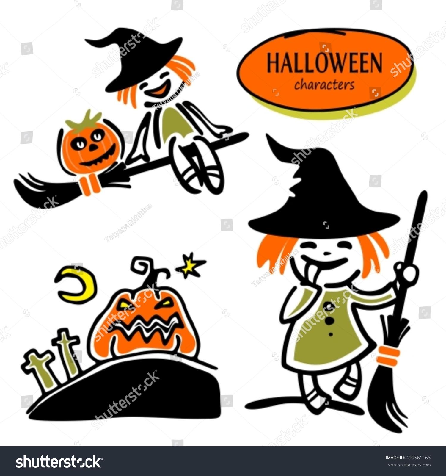 set halloween characters halloween witch cartoon stock vector