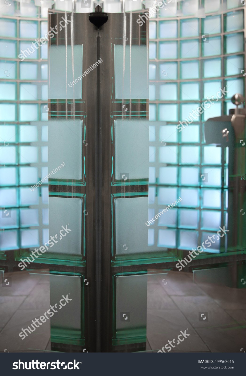 Partition Walls Made Semitransparent Glass Blocks Stock Photo ...
