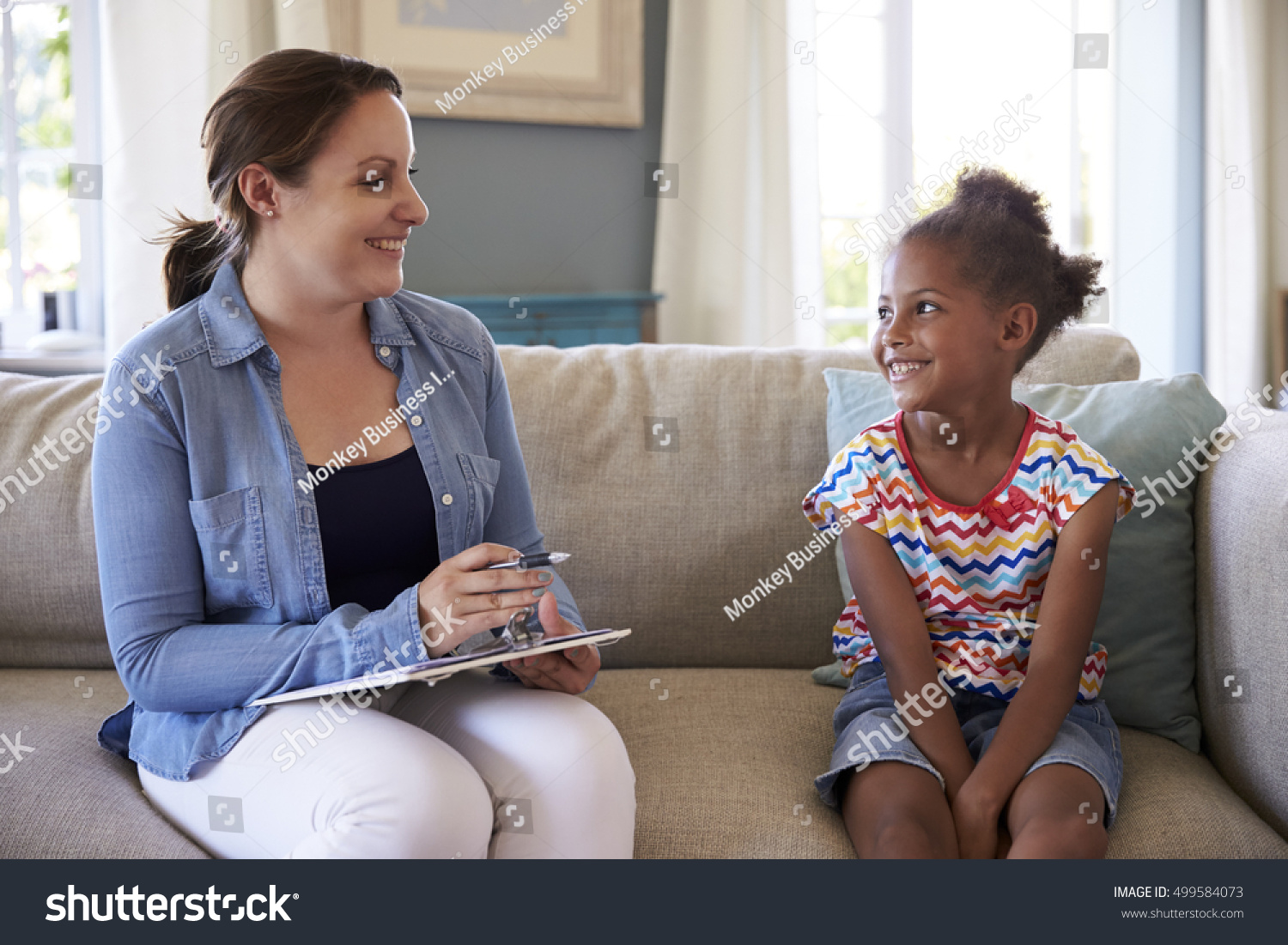 Young Girl Talking Counselor Home Stock Photo 499584073 ...