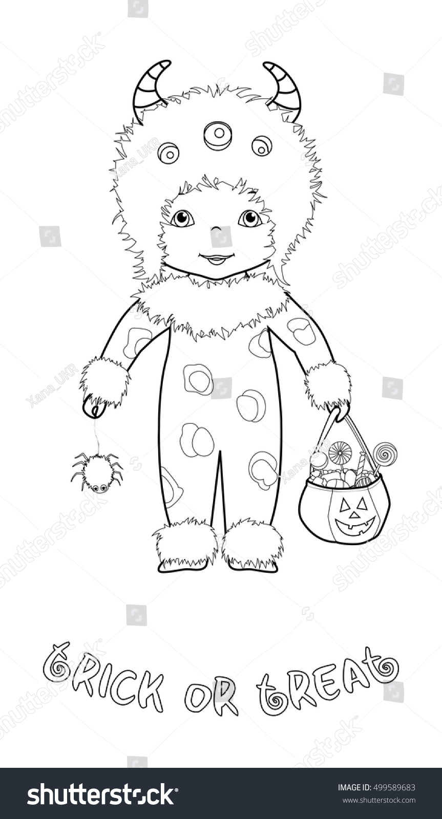 Trick Treat Halloween Cartoon Coloring Page Stock Vector (Royalty ...
