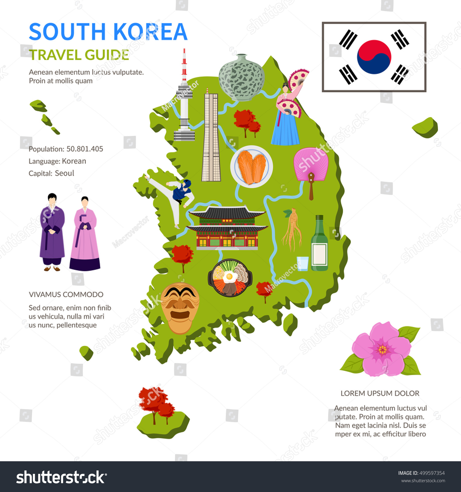 South Korea Travel Guide For Tourists Flat Infographic Poster With Country Map Landmarks And Cultural Symbols