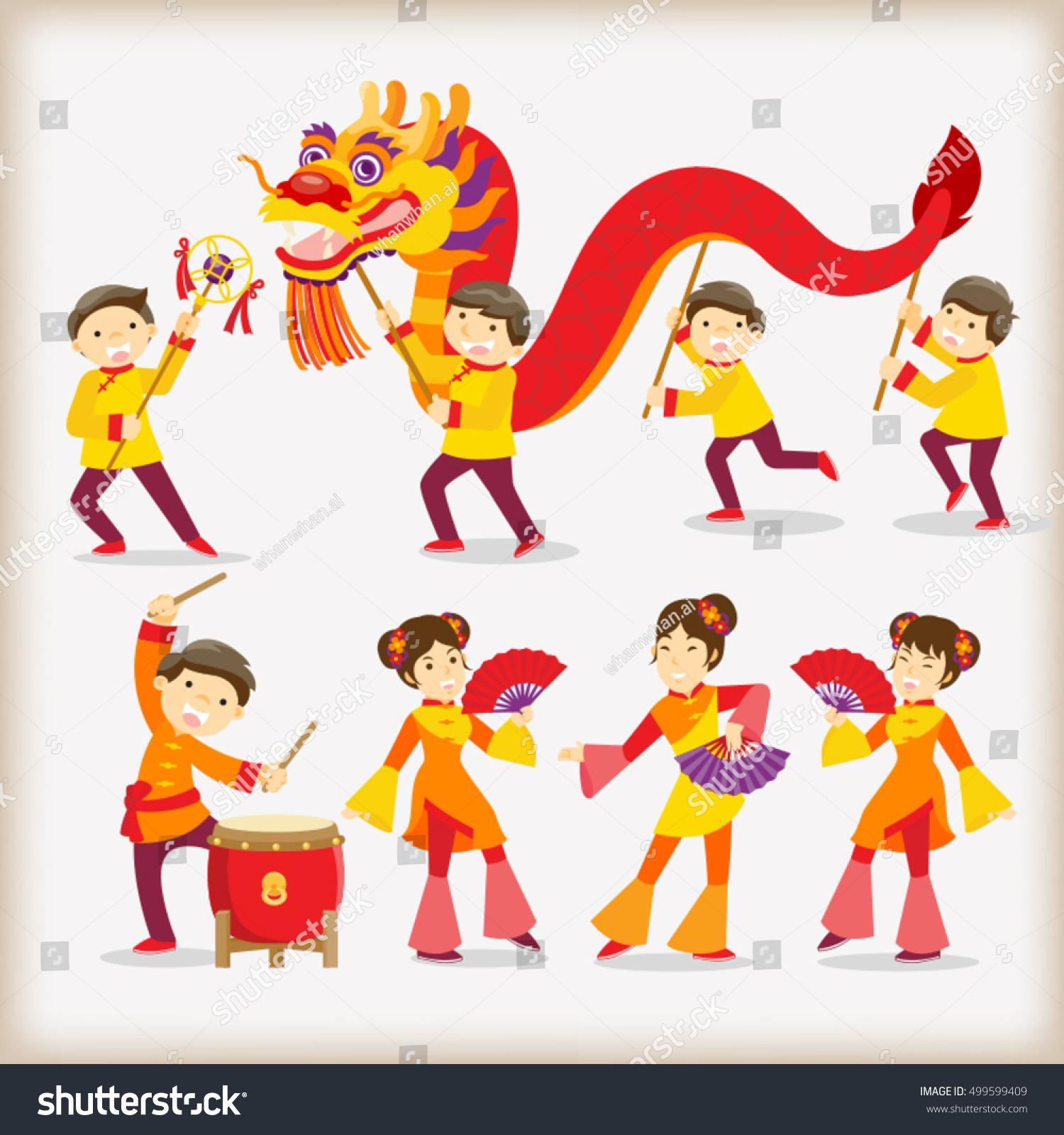 Dragon Dancechinese New Year Festival Stock Vector ...
