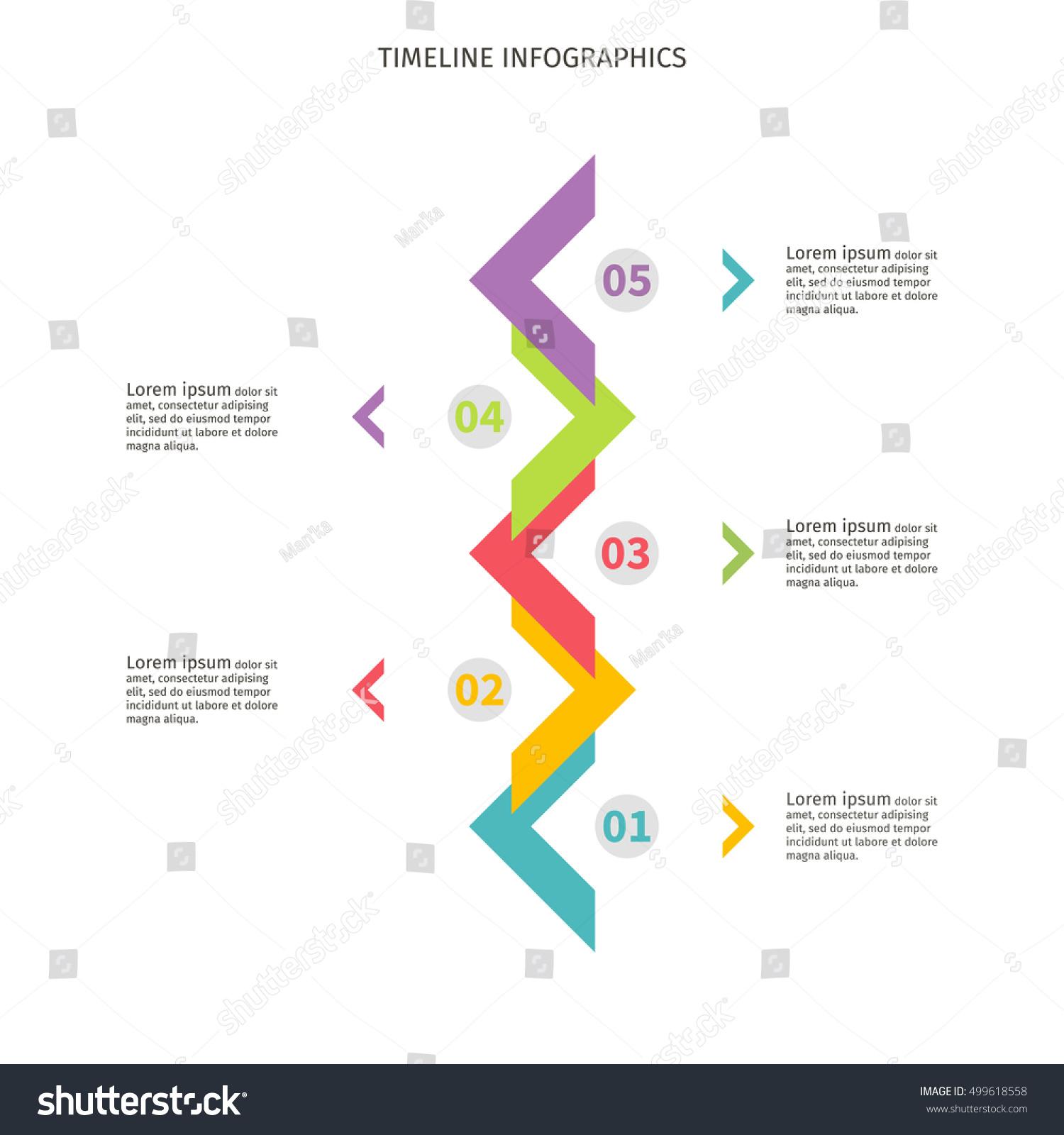 timeline infographics color vertical design template のベクター画像