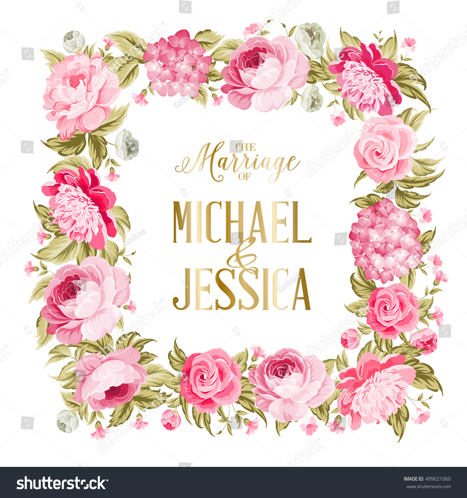 Wedding Invitation Template Border Red Flowers Stock Vector (Royalty ...