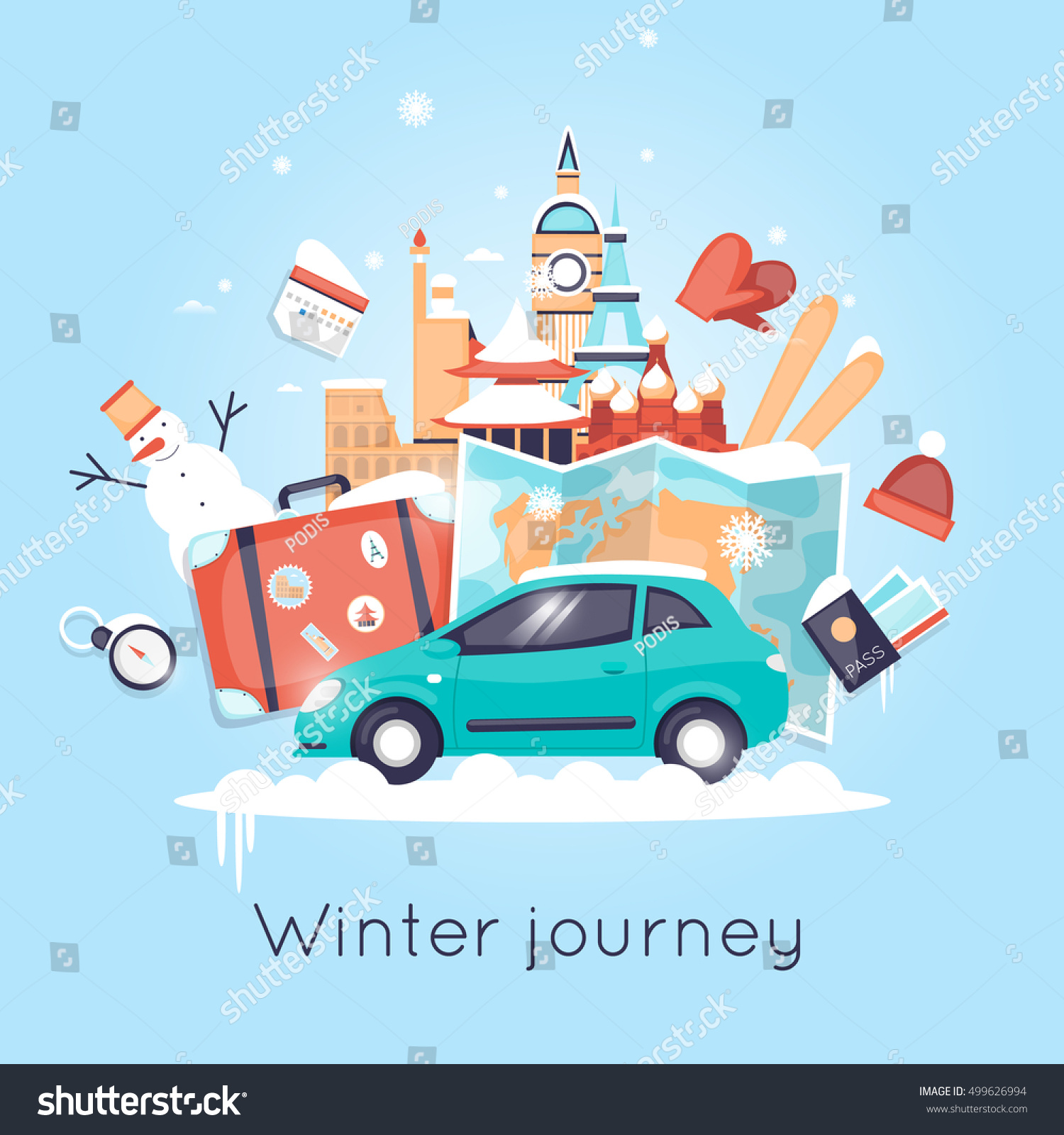 Travel by car russia usa japan stock vector 499626994 for Winter trip in usa