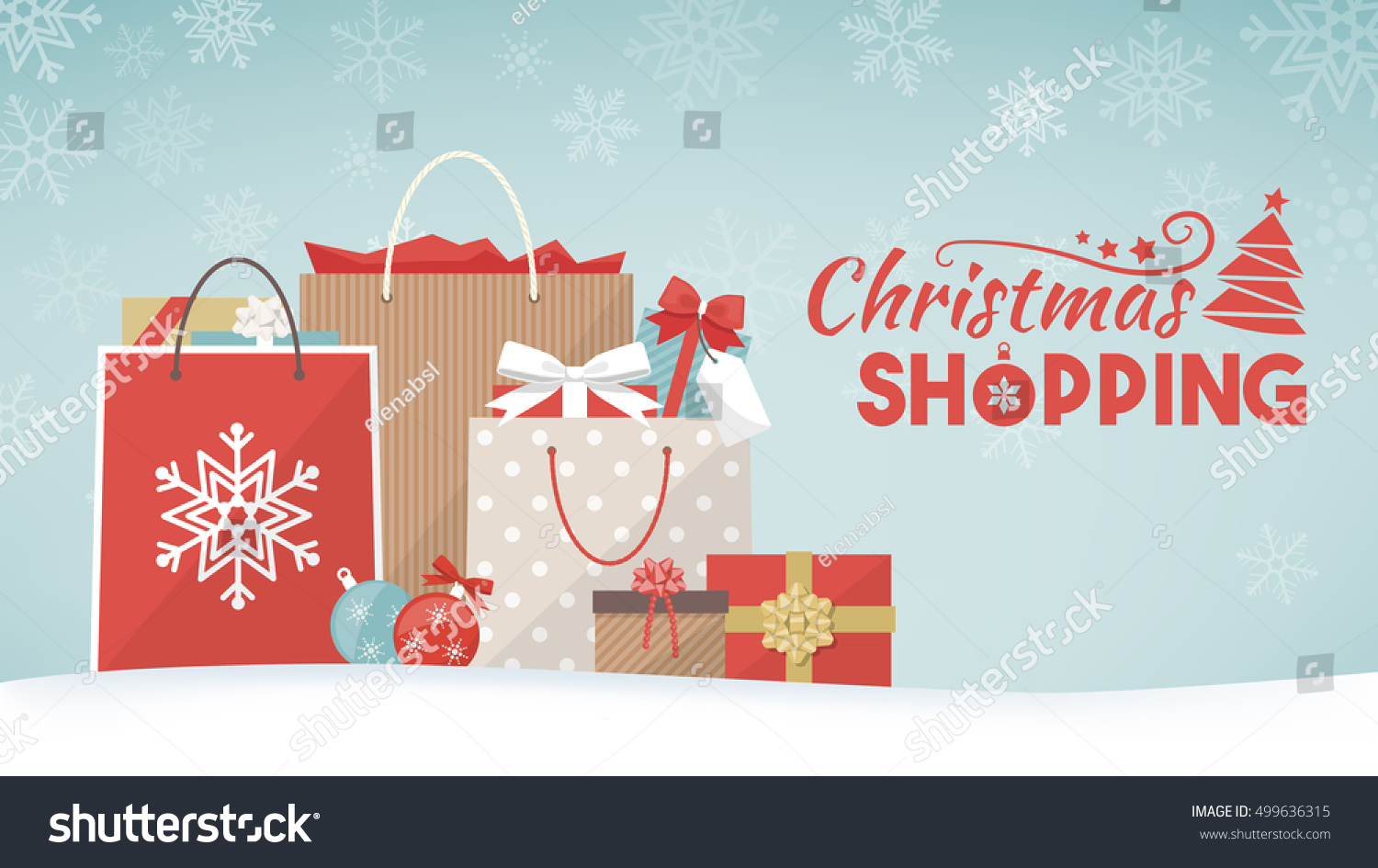 Colorful Christmas Gifts Shopping Bags Decorations Stock ...