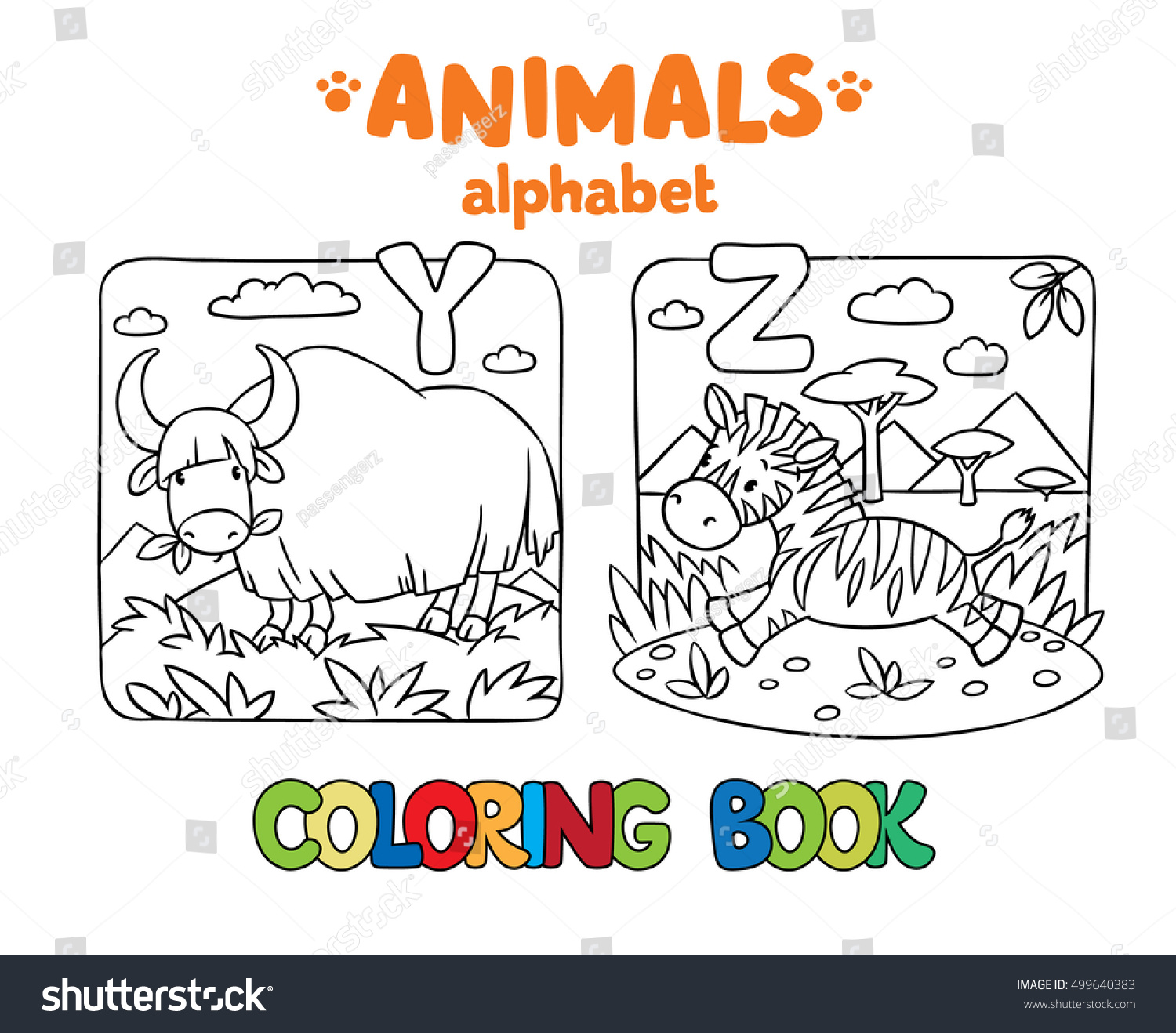 Coloring Book Coloring Picture Funny Yak Stock Vector 499640383 ...