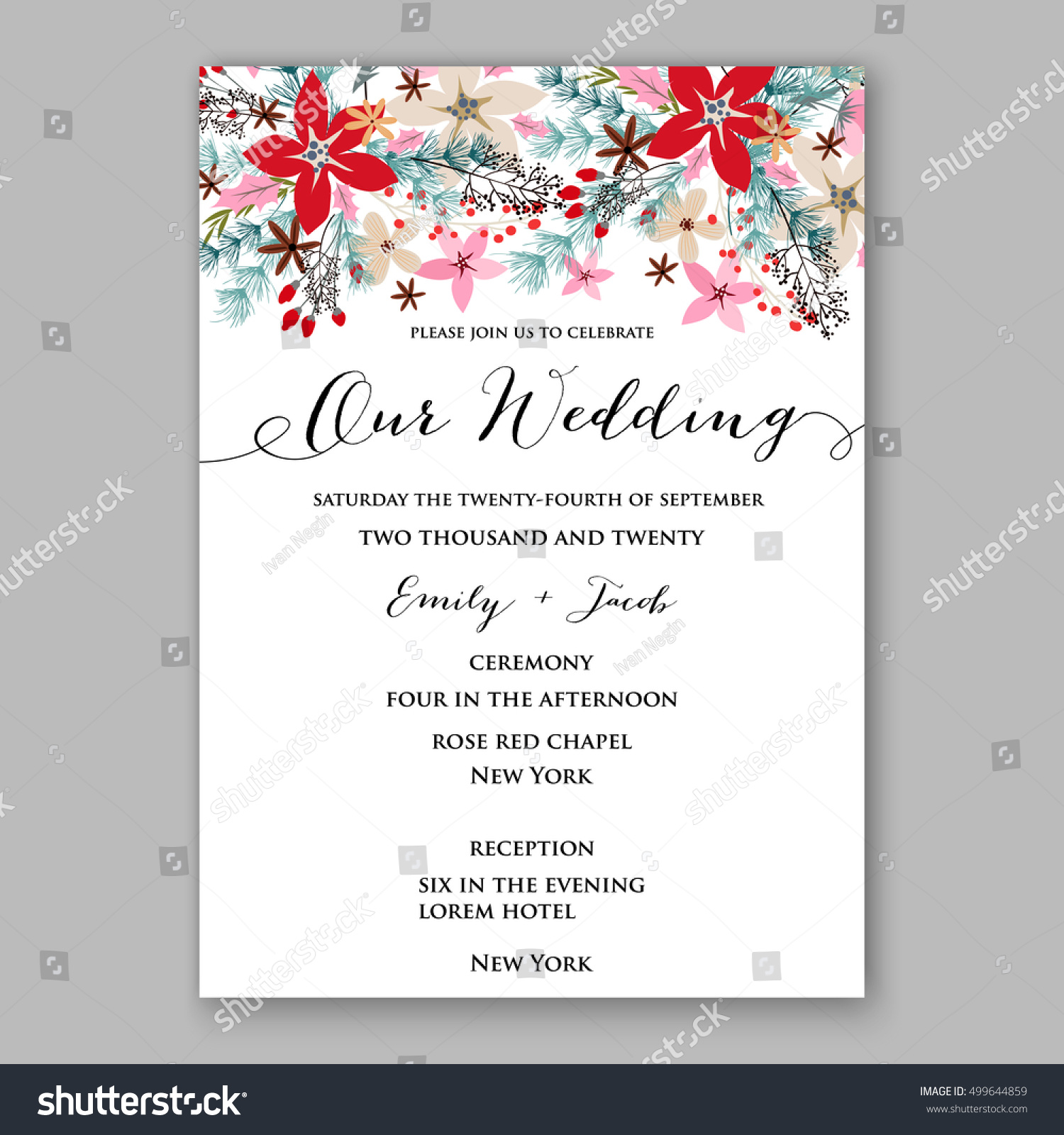 Wedding invitation sample cards images party invitations ideas invitation sample card image collections invitation sample and poinsettia wedding invitation sample card beautiful stock vector stopboris Image collections