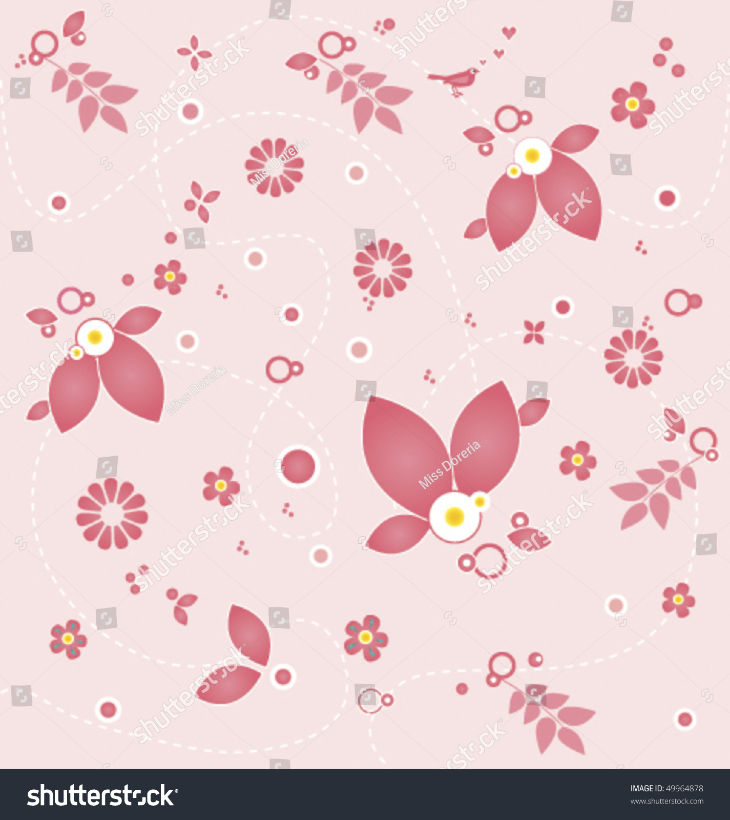 Sweet Floral Wallpaper Light Pink Elements Stock Vector Royalty