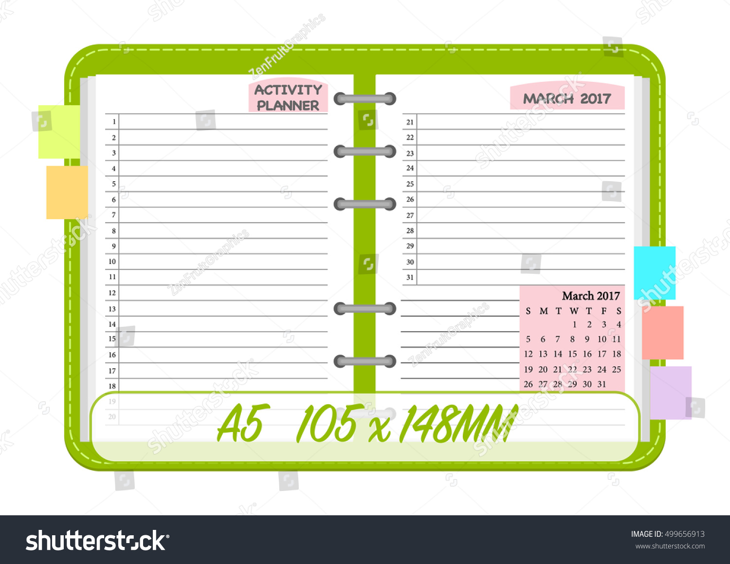 March 2017 Calendar Template Notebook Page Stock Vector 499656913 ...