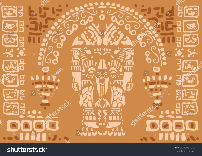 Ancient Mayan Hieroglyphics Stone Stock Vector 499671259