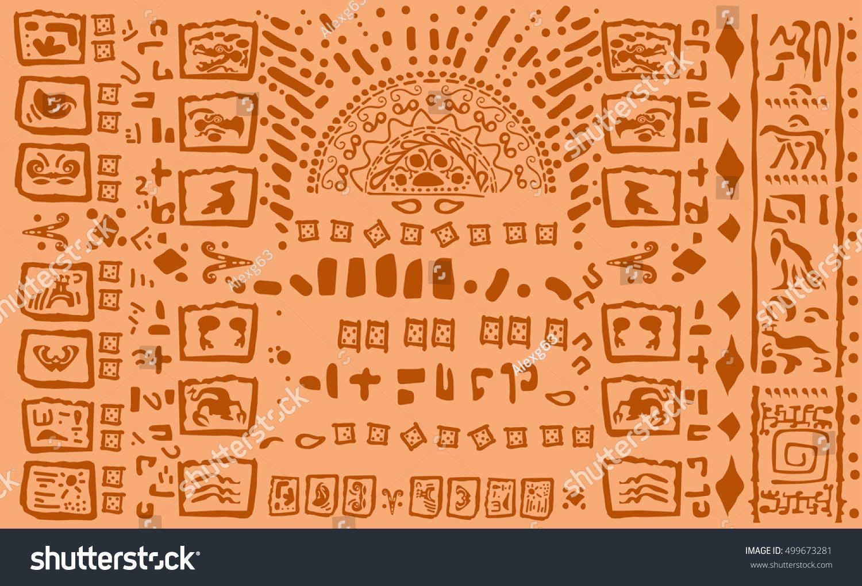 Alphabet Ancient Civilizations Ancient Mayan Hieroglyphics Stock
