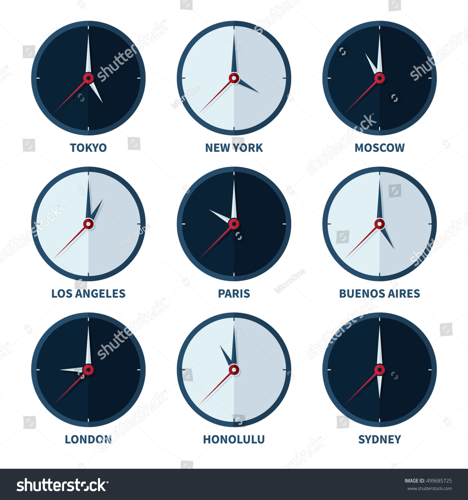 world clocks time zones different cities stock vector