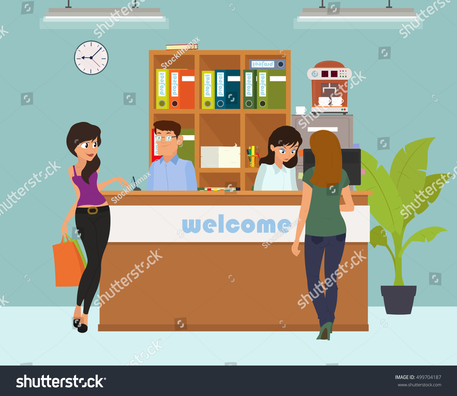 Office Receptiondesign: Reception Service Hotel Desk Business Office Stock Vector