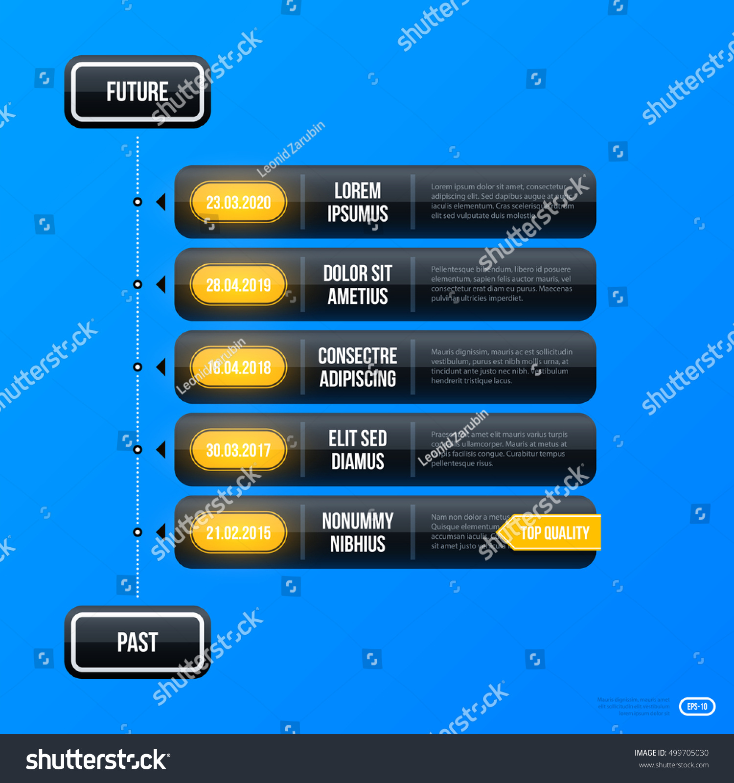 Corporate Business Timeline Template On Bright Blue Background. Useful For  Presentations And Advertising.