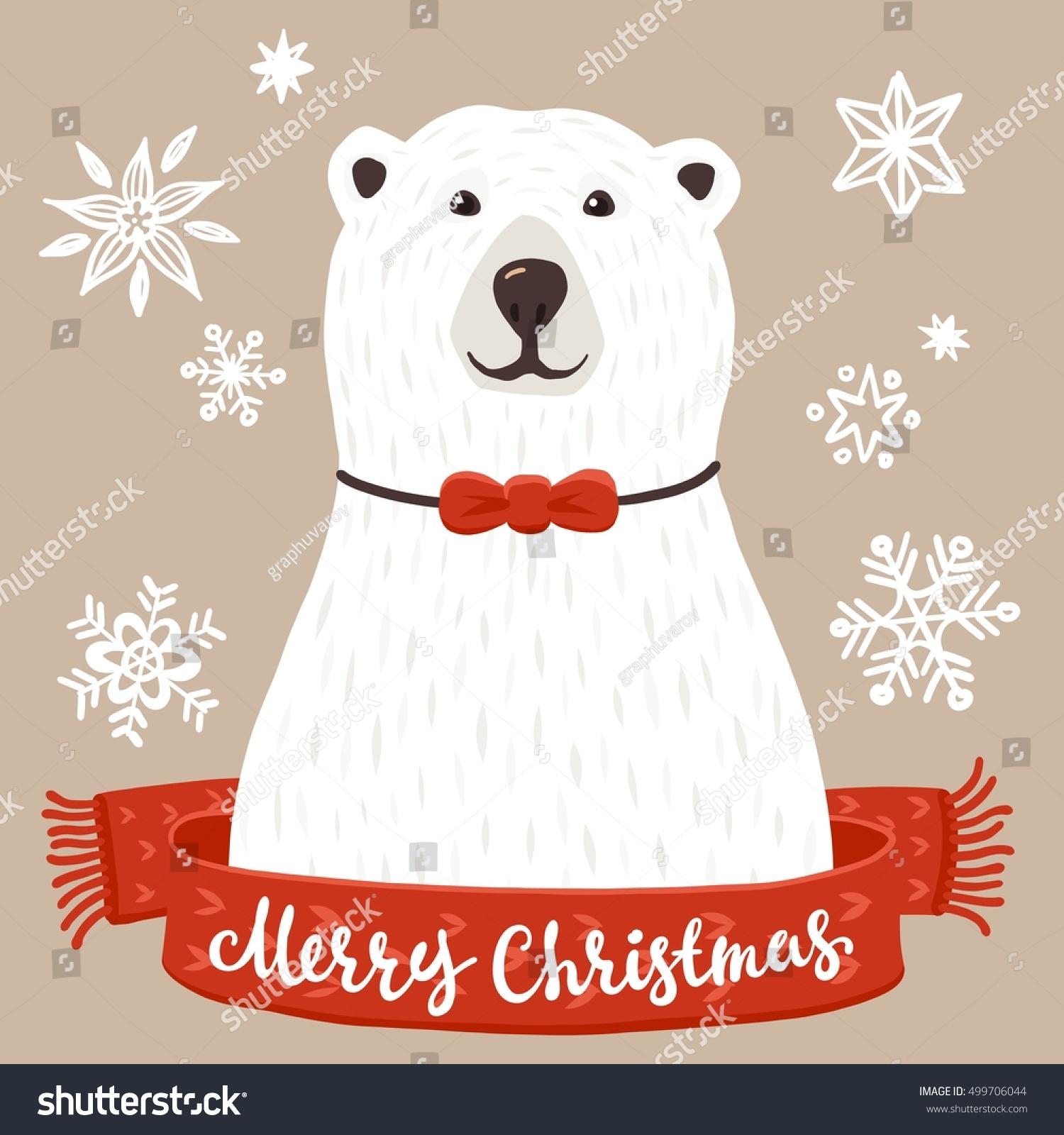 Polar Bear Merry Christmas Inscription Winter Stock Vector (Royalty ...