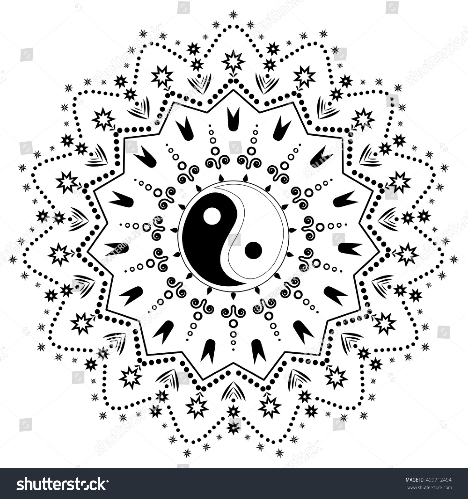 Yin Yang Decorative Tattoo Mandala 9 Stock Vector Royalty Free