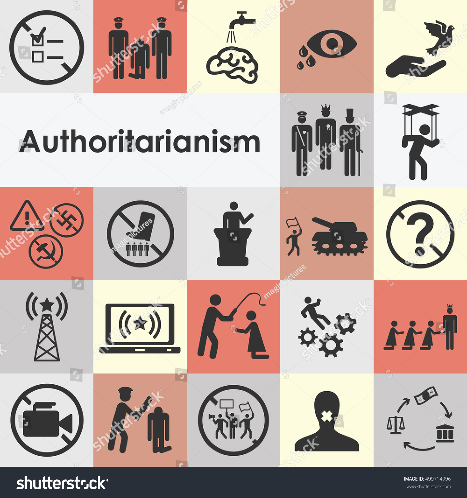 Vector illustration authoritarianism icons set dictator stock vector illustration of authoritarianism icons set for dictator style of rule concepts and fighting against regime biocorpaavc