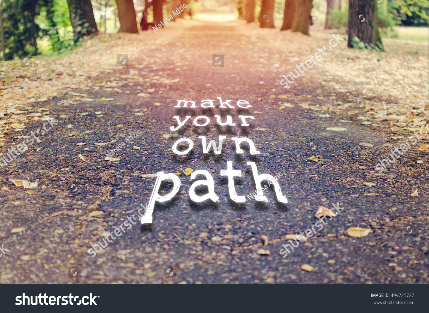 Make Your Own Path Motivational Quote Stock Photo