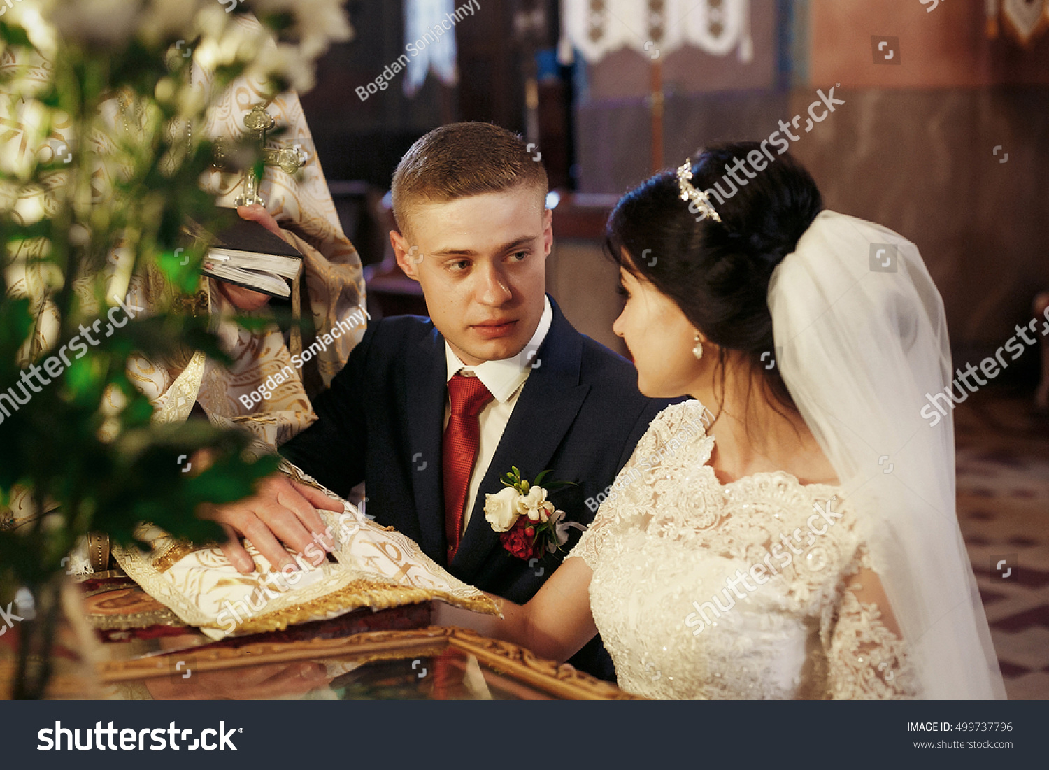 emotional bride groom giving wedding vows stock photo edit now