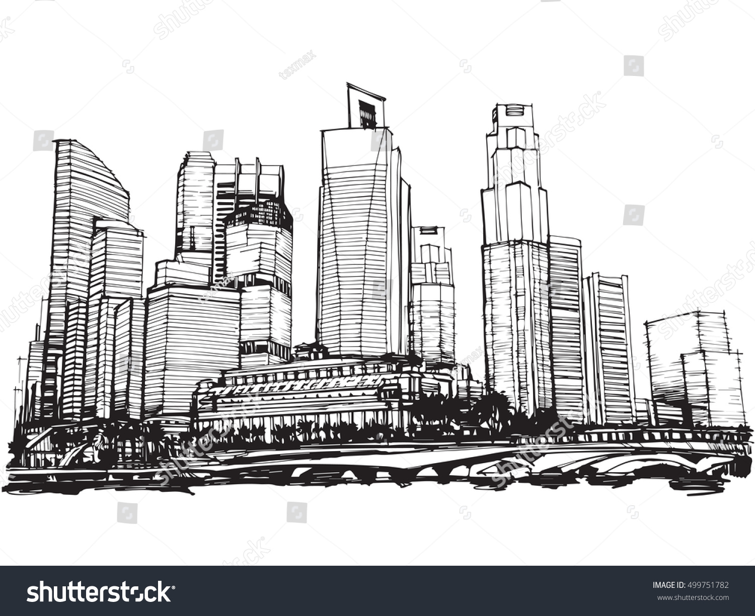Line Art City : Freehand sketch vector panoramic singapore city stock hd