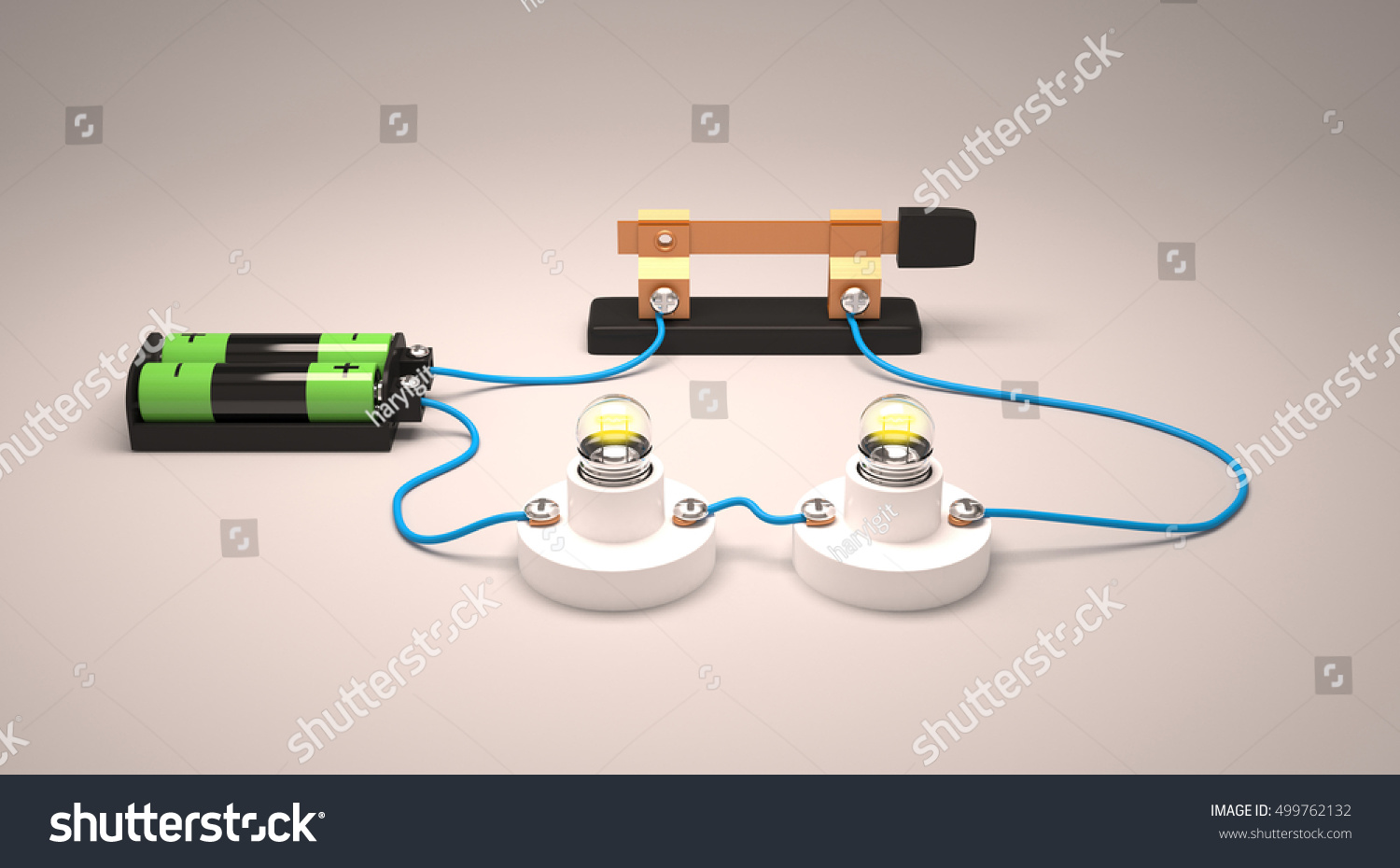 Simple Electric Circuitparallel 3 D Rendering Stock Illustration Electrical Wiring 3d