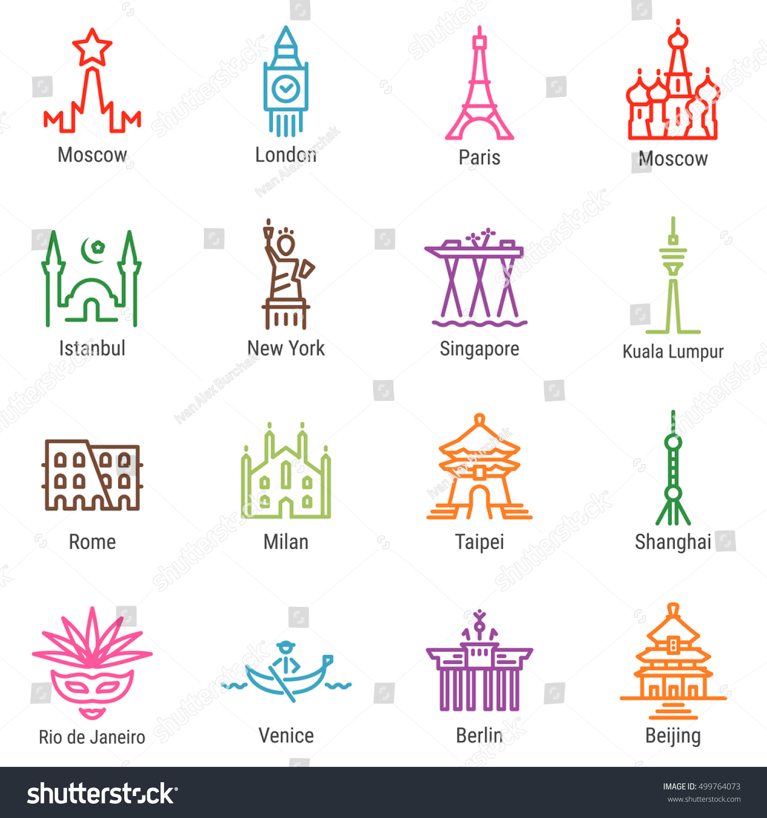 Moscow London Paris Istanbul New York Stock Vector