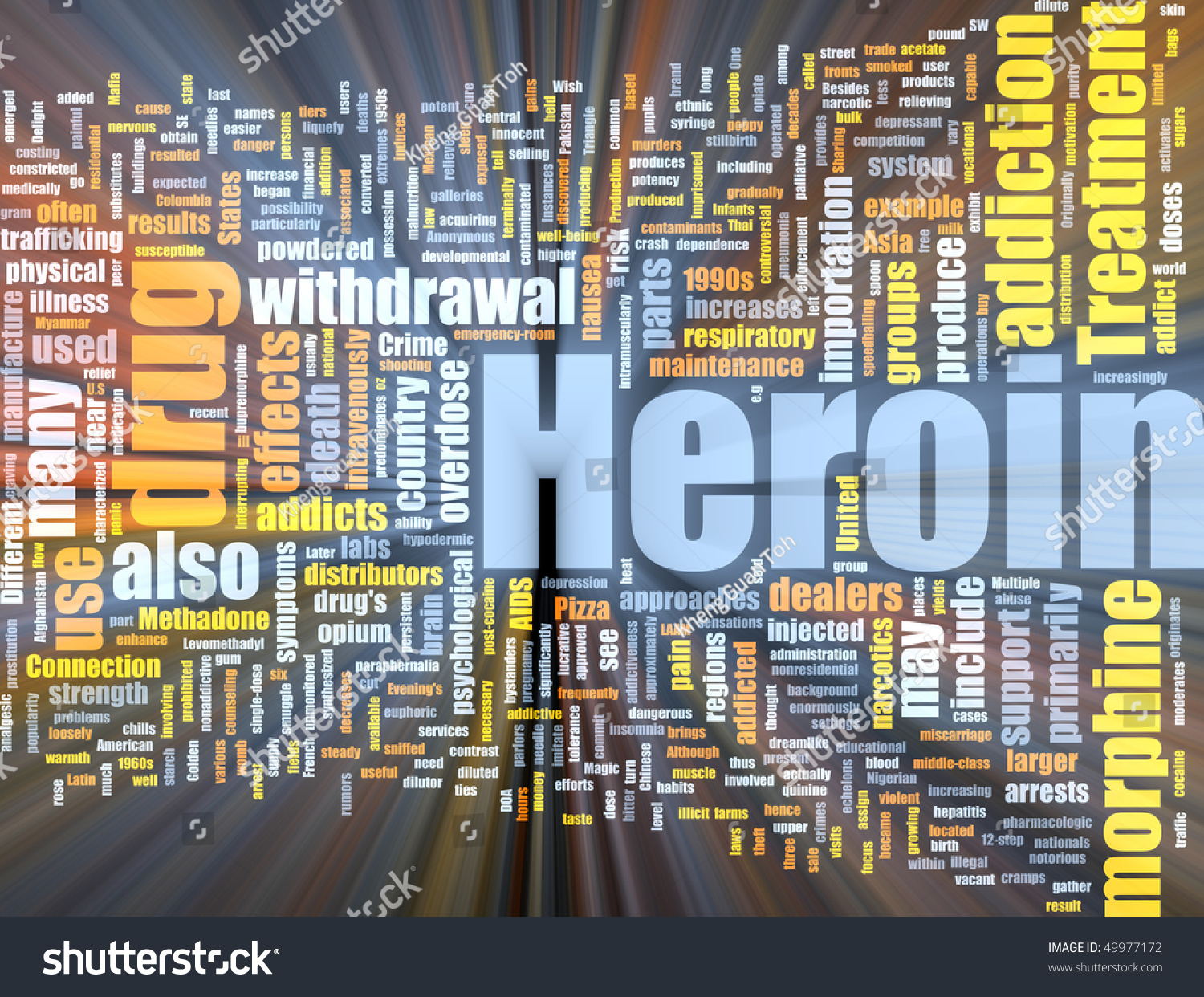 Word Cloud Concept Illustration Of Heroin Drug Glowing