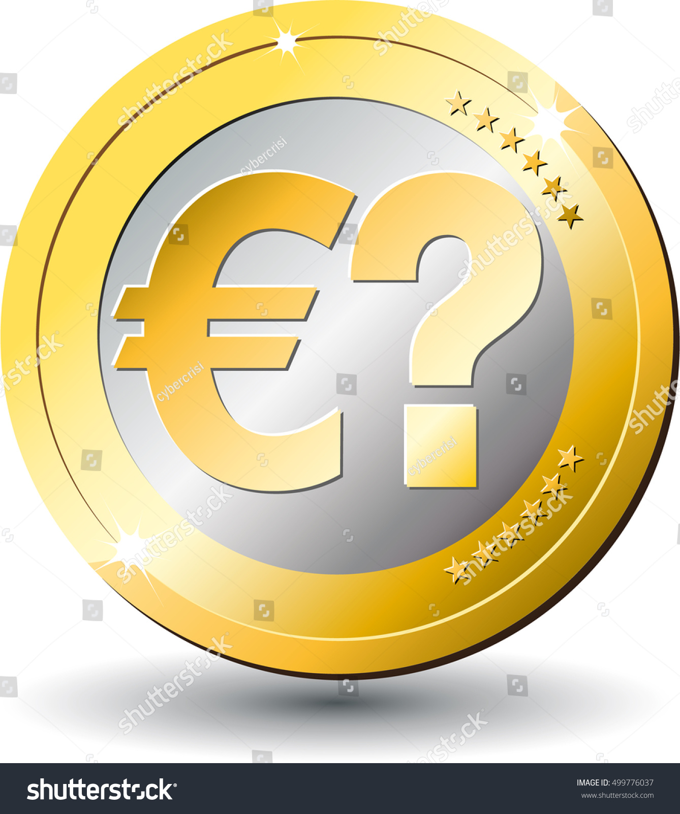 Gold Coin Euro Currency Symbol Question Stock Vector Royalty Free
