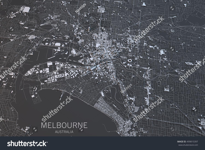 Melbourne Map Satellite View City Australia Stock Illustration - Satellite view