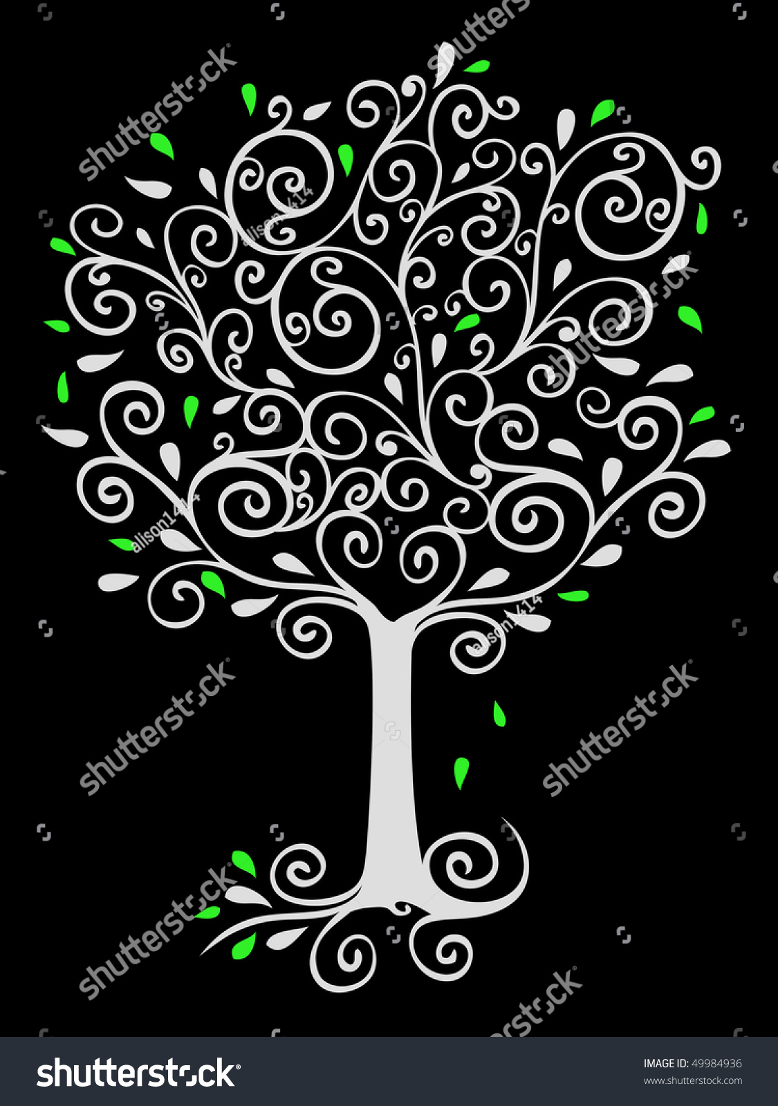 Filigree Tree On Black Stock Illustration 49984936 - Shutterstock