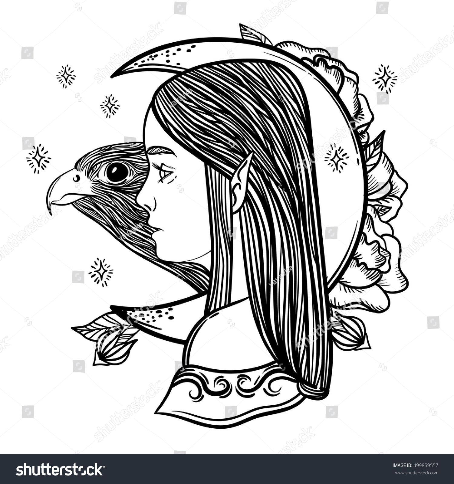 Uncategorized Elf Pictures To Print fantasy girl elf magical month bird stock vector 499859557 and a falcon linear imaginary illustration print