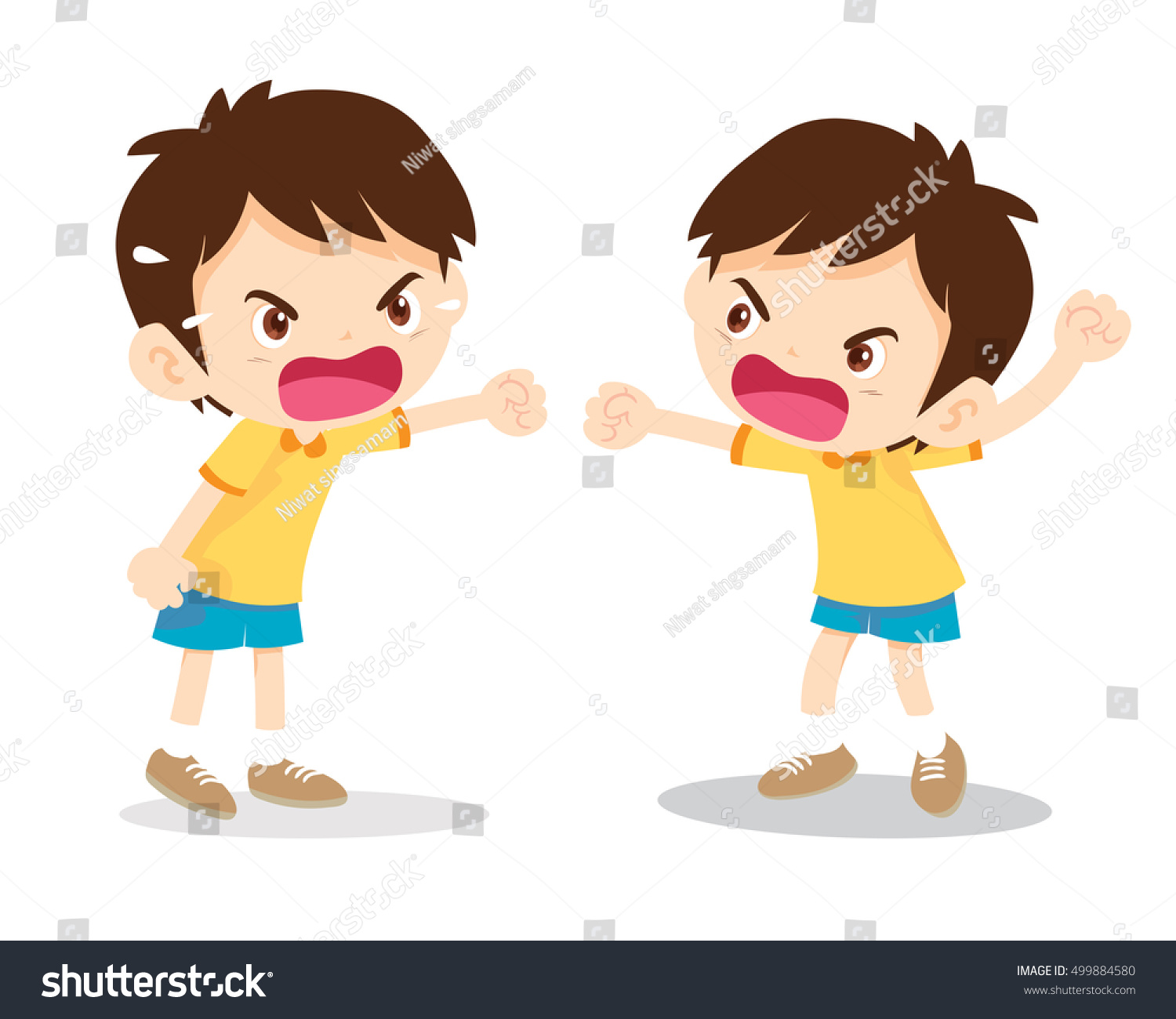 Little Angry Boy Shouting Various Actions Stock Vector ...