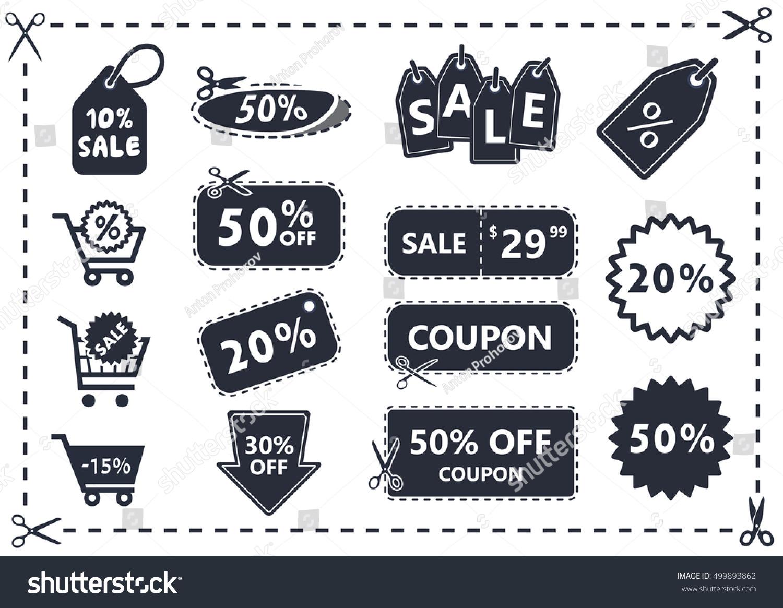 Discount coupons set discount icons shopping stock vector 499893862 shutterstock - Houseplanscom discount code set ...