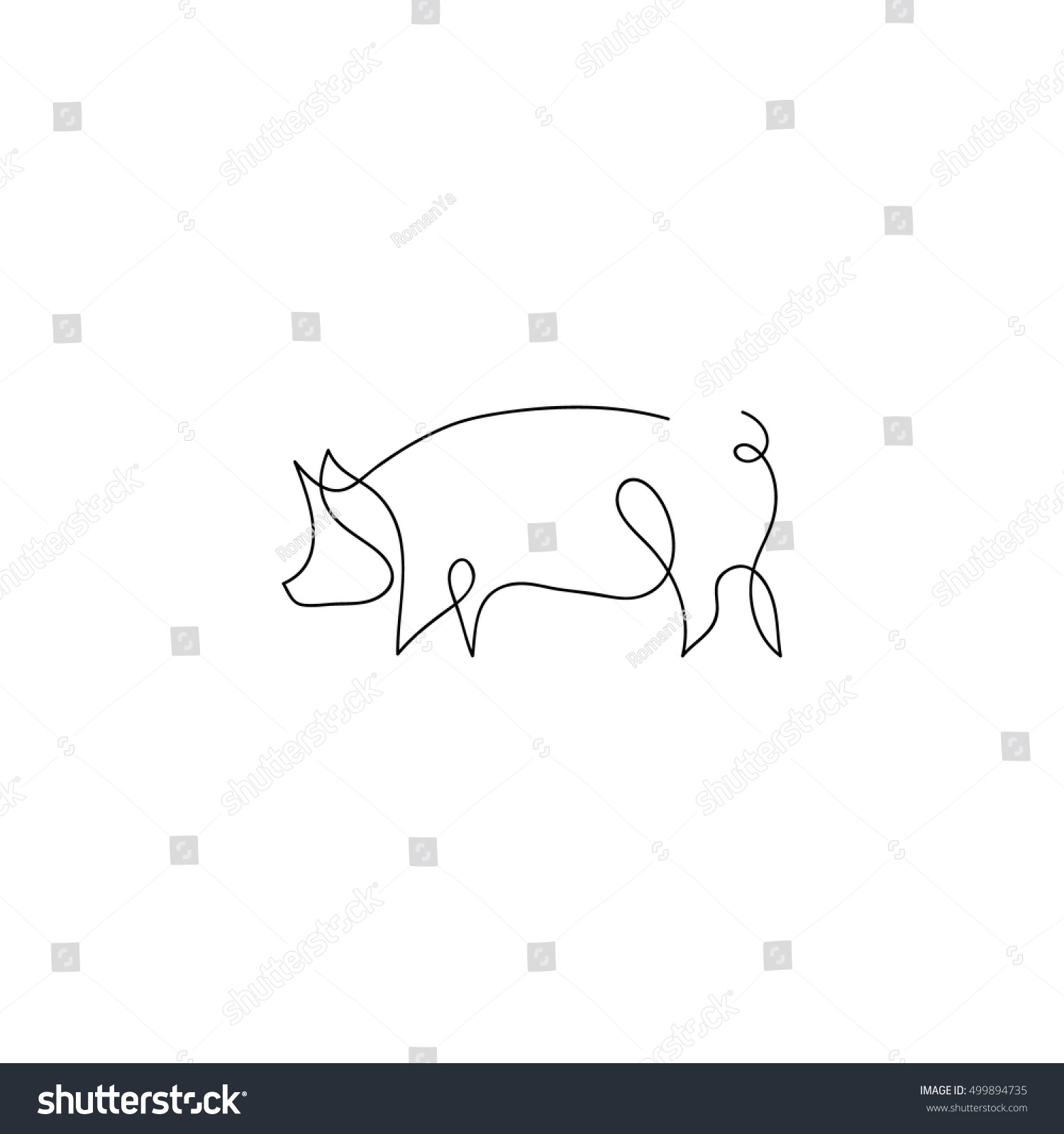 Line Drawing Pig : One line pig design silhouettehand drawn stock vector