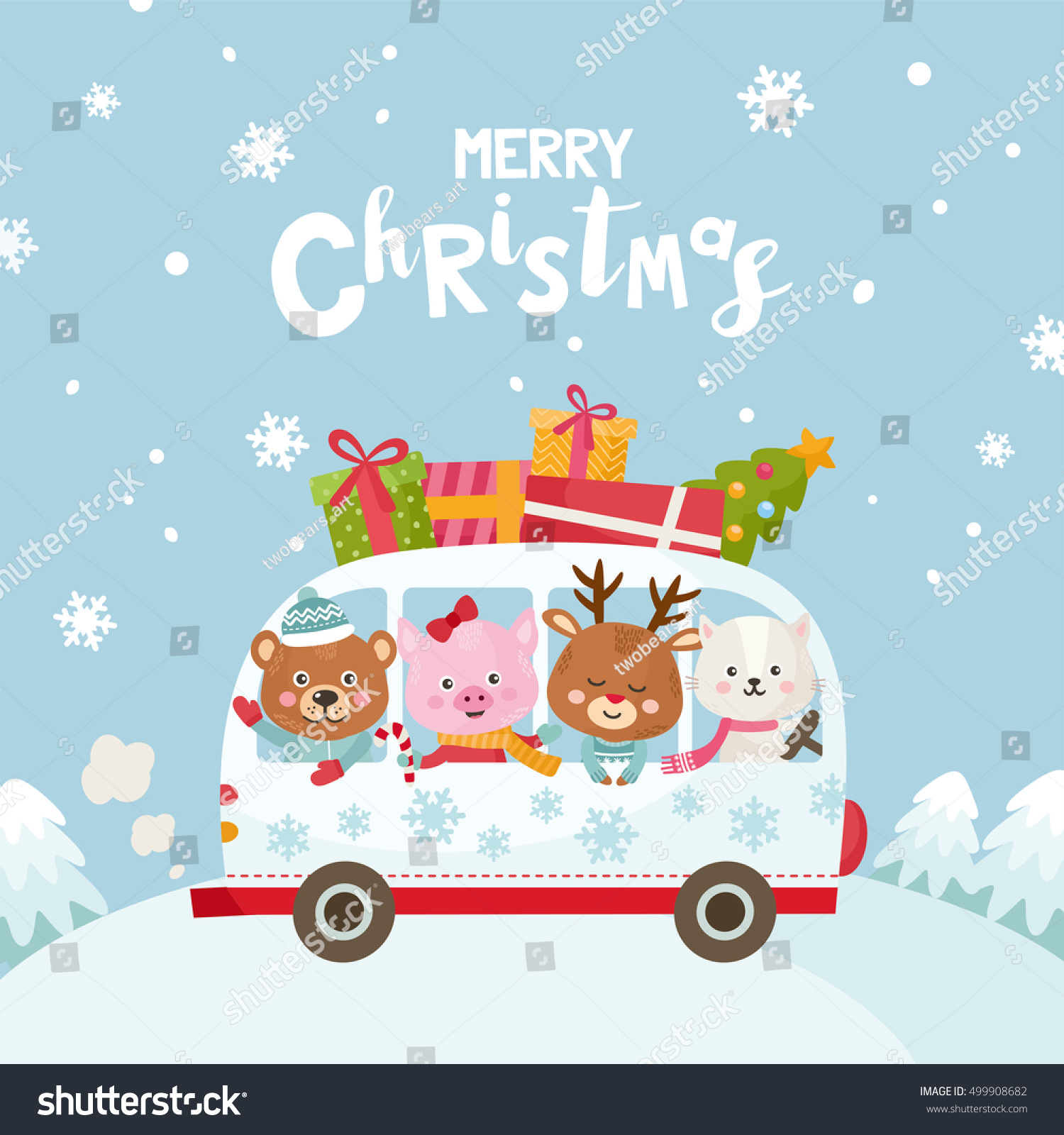 Merry Christmas Greeting Card Cute Animals Stock Vector Royalty