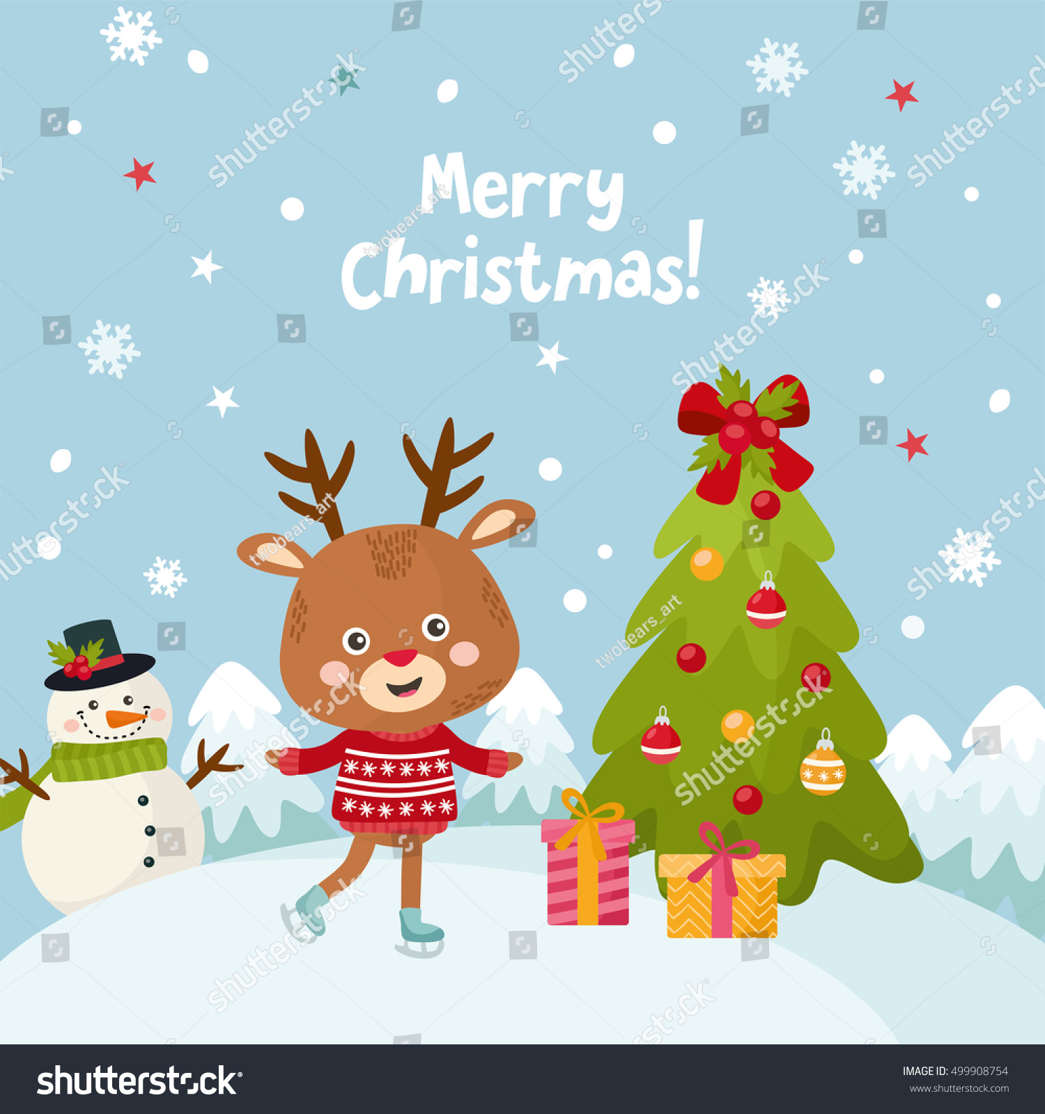 Merry Christmas Greeting Card With A Cute Little Deer Happy New