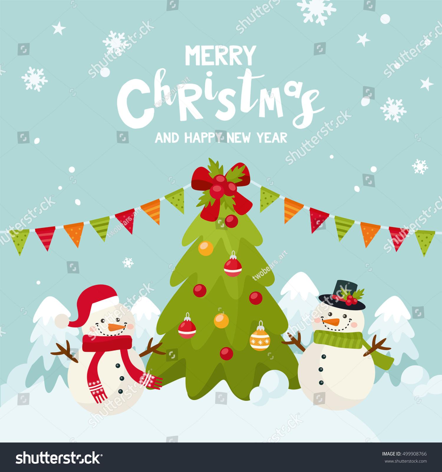 Merry Christmas Greeting Card Cute Snowman Stock Vector (Royalty ...