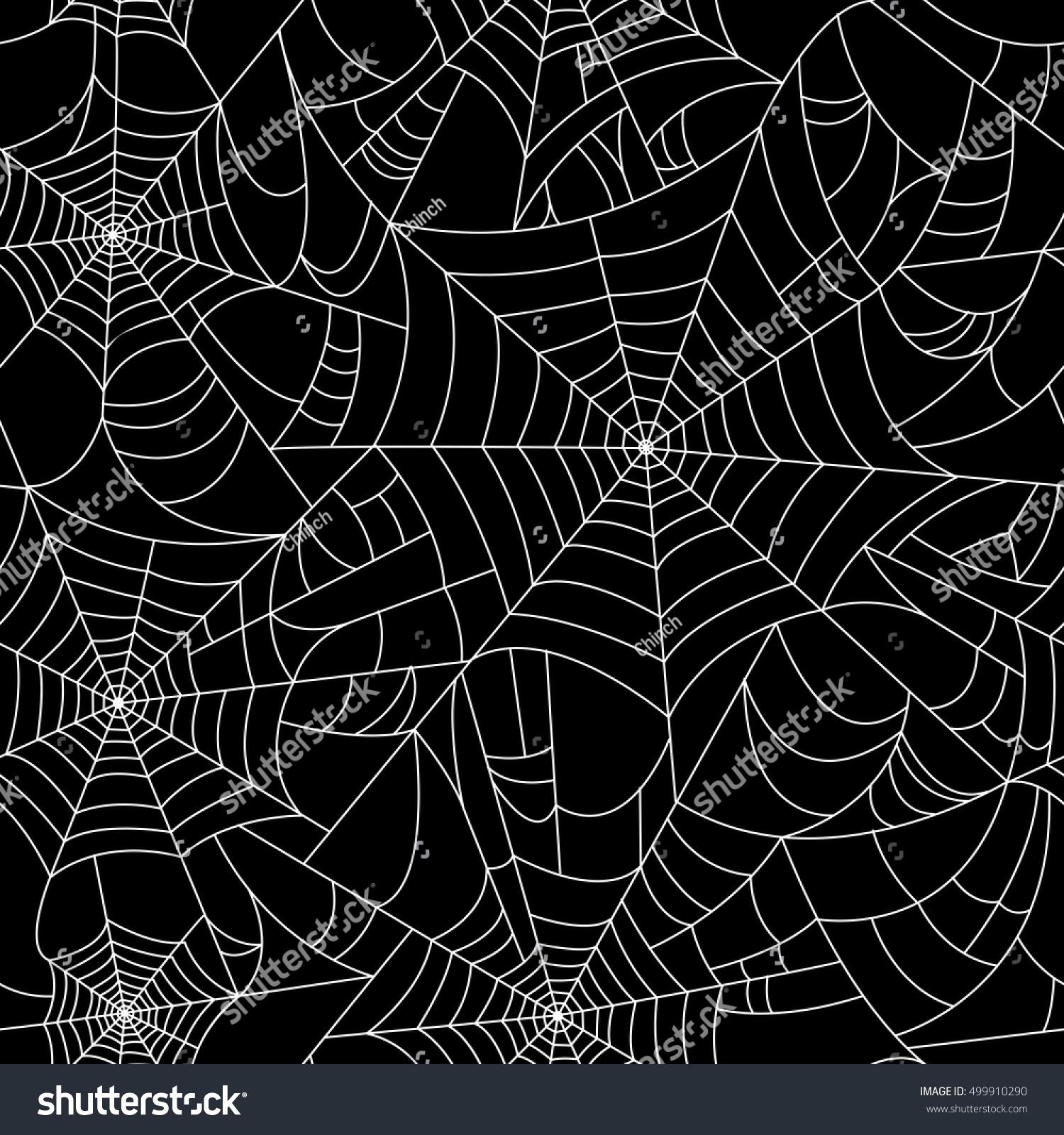 halloween spider web seamless pattern black stock vector (royalty