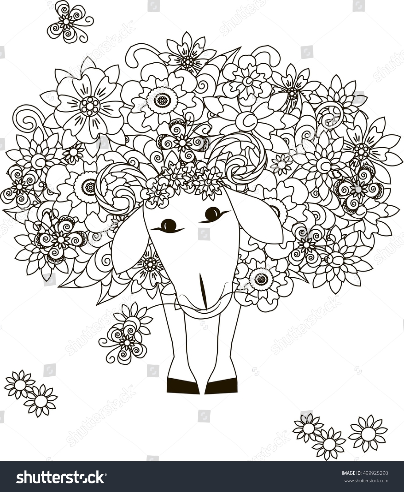 flowers sheep coloring page antistress vector stock vector