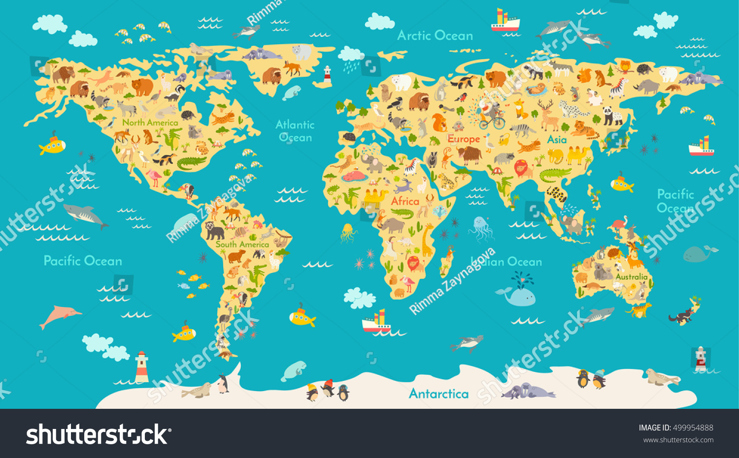 Animal map kid world vector poster vectores en stock 499954888 animal map for kid world vector poster for children cute illustrated preschool cartoon gumiabroncs Choice Image