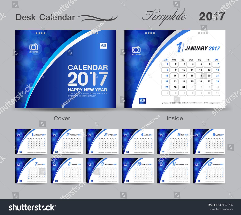 set blue desk calendar template stock vector  set blue desk calendar 2017 template design cover desk calendar flyer design blue