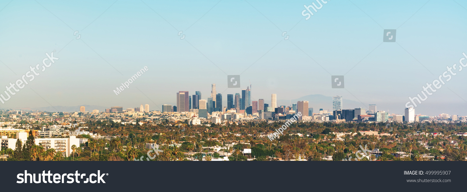 Panoramic view downtown los angeles toward stock photo 499995907 shutterstock - Panoramic les angles ...