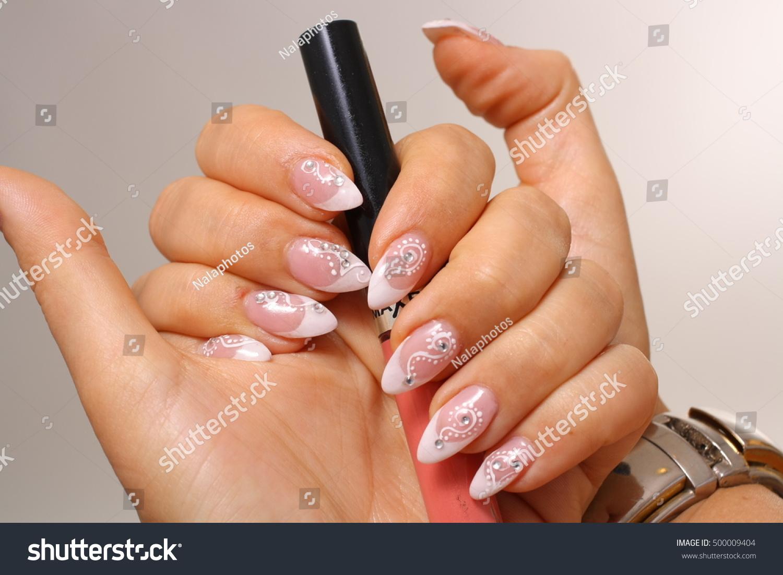 Beautiful French Nails Stock Photo (Royalty Free) 500009404 ...