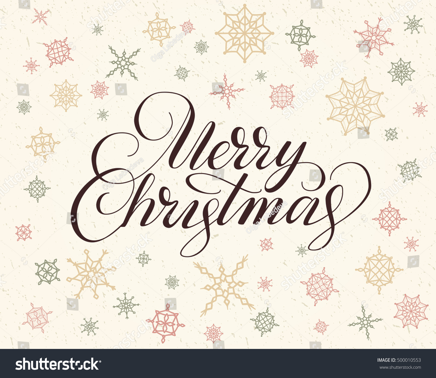 Merry Christmas Lettering Over Background With Snowflakes