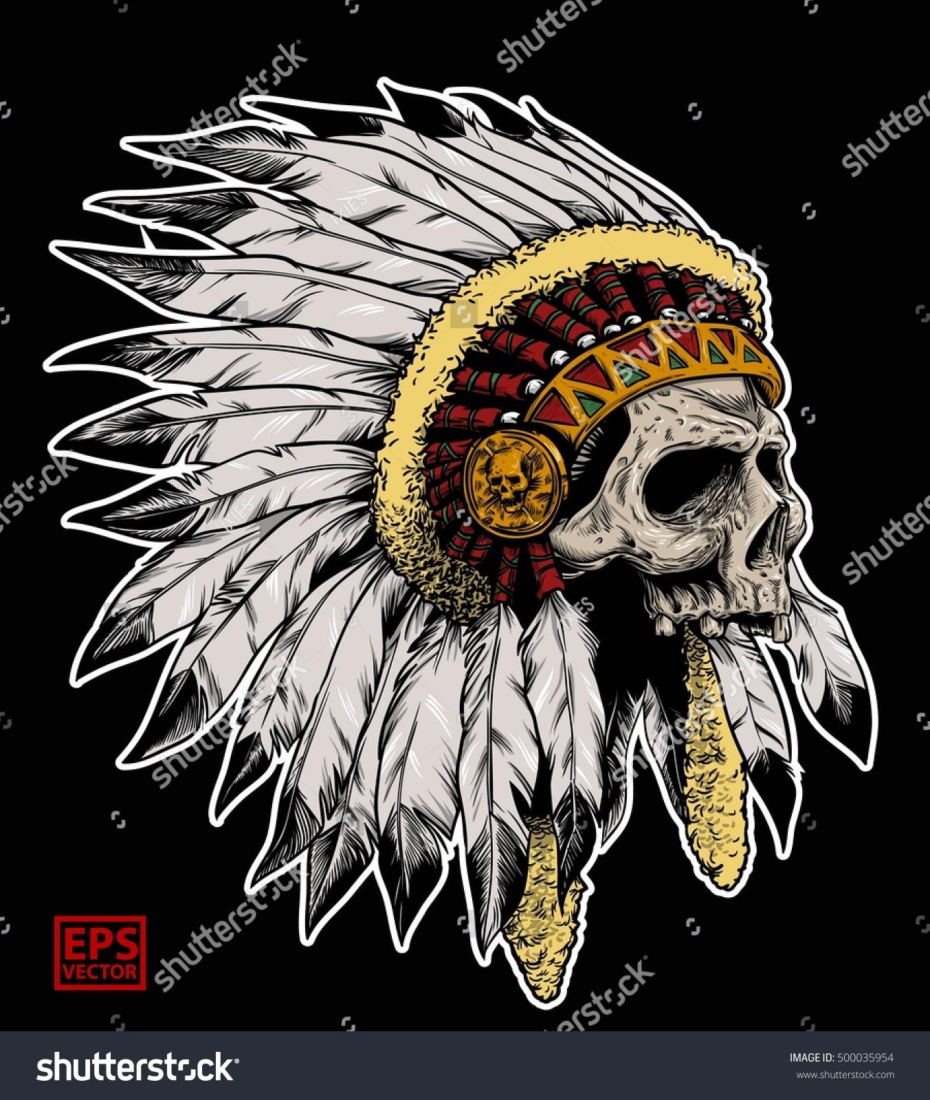 Apache Head Skull Color Stock Vector 500035954
