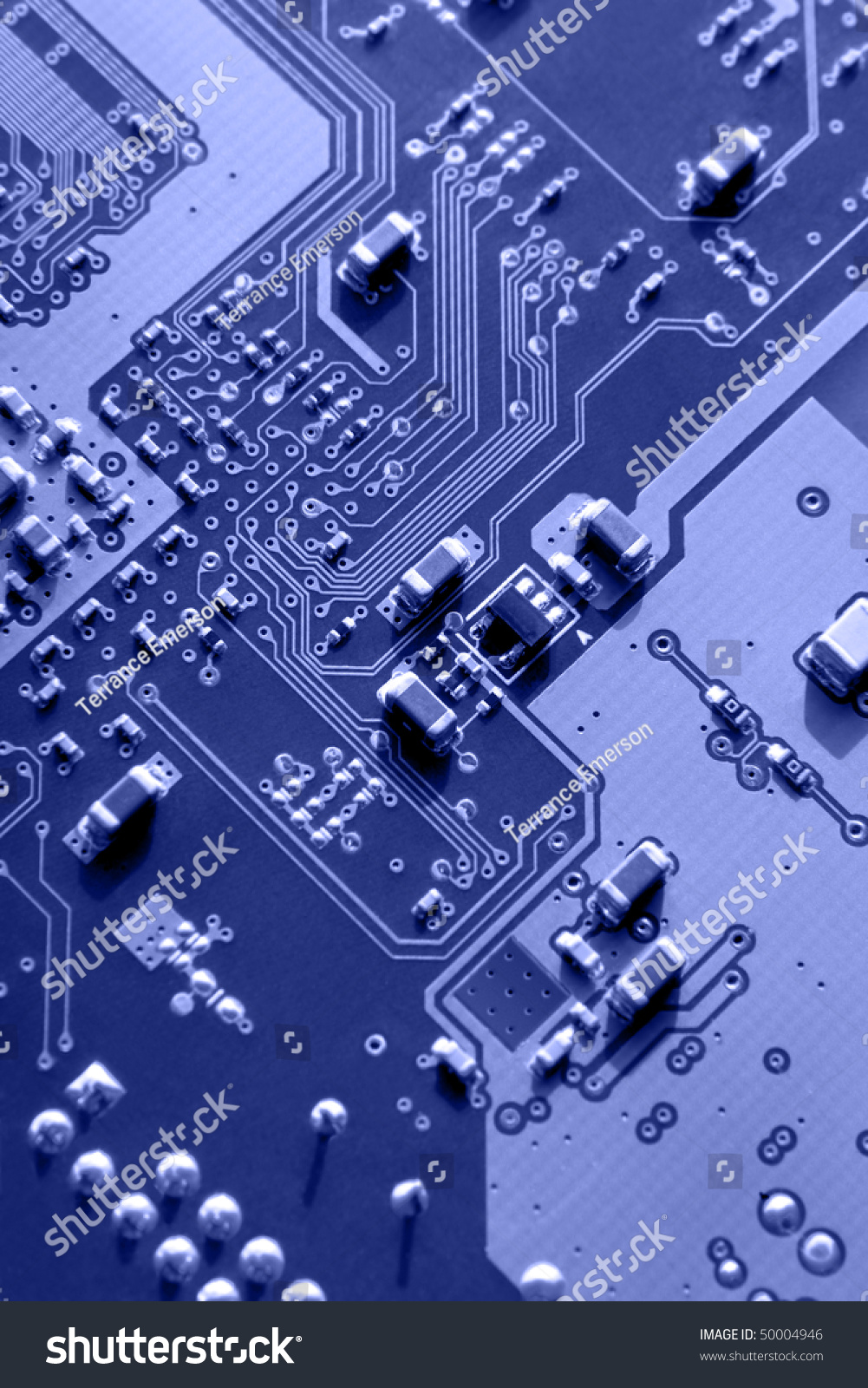 Blue Macro Printed Circuit Board Patterns Stock Photo Edit Now Parts Of A And Electronic Selective Focus According To Rule